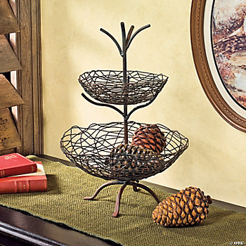 Tiered Wire Basket with Pinecones