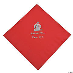 Personalized Red Carnival Luncheon Napkins - Silver Print