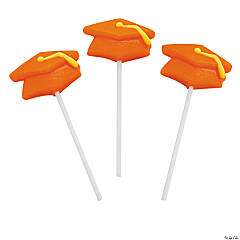 Orange Mortarboard Graduation Suckers