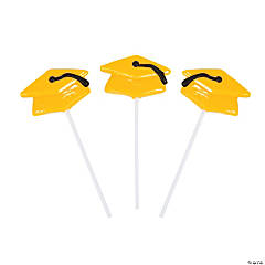 Yellow Mortarboard Graduation Suckers