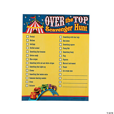 """Over the Top"" Scavenger Hunt Game"