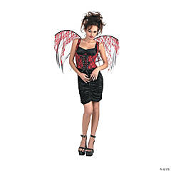 Wings Red Lace Black Corset Adult Women's Costume