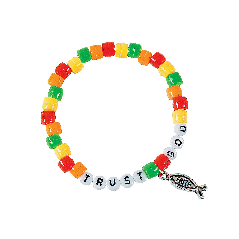 Trust god pony bead bracelet craft kit oriental trading for Bead craft for kids