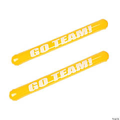 "Inflatable Yellow ""Go Team"" Noisemaker Sticks"