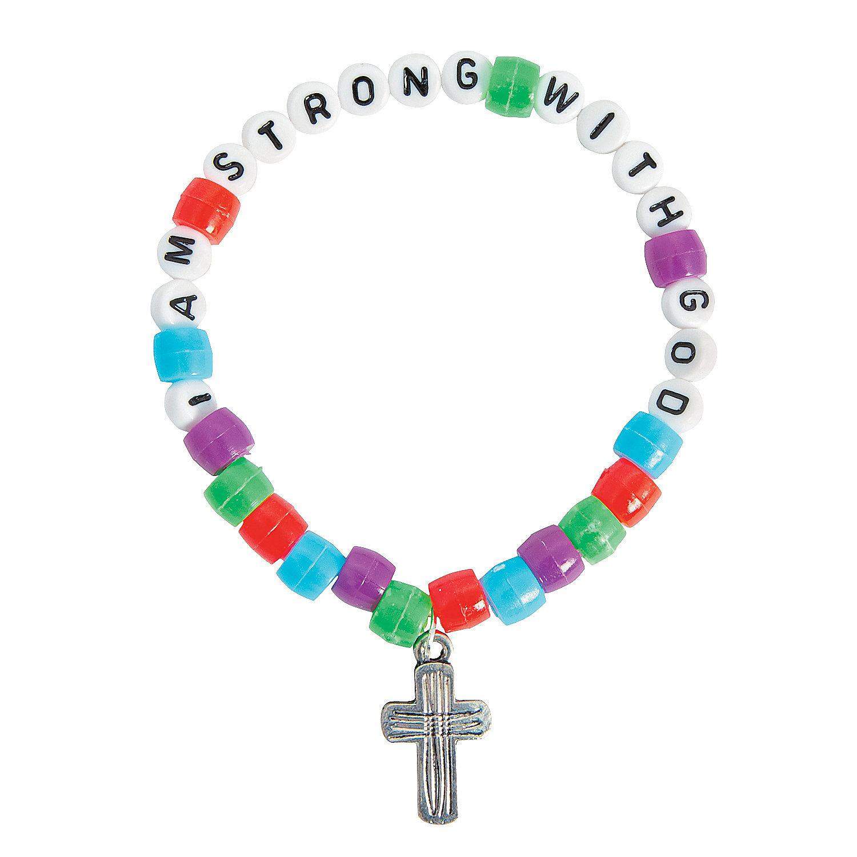 """""""i Am Strong With God"""" Pony Bead Bracelet Craft Kit. Infinity Necklace. Dark Engagement Rings. Aqua Marine Necklace. New York Bands. Wedding Band Rings. World Big Diamond. Ivory Pearl Bracelet. Gold Bangle Bracelets"""