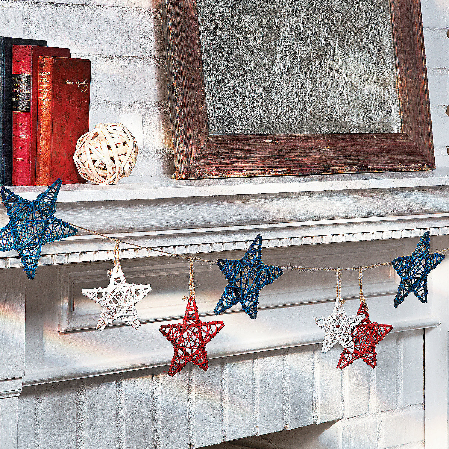 Star Decorations For Home: Red, White & Blue Star Garland, Decorative Accessories