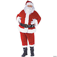 Adult Man's Complete Velour Santa Suit Costume