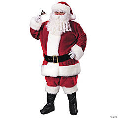 Plush Crimson Santa Suit Adult Men's Costume