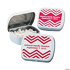Personalized Red Chevron Mint Tins