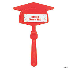 Personalized Red  Congrats Grad Mortarboard Clappers