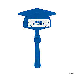 Personalized Blue Congrats Grad Mortarboard Clappers