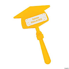 Personalized Yellow Congrats Grad Mortarboard Clappers