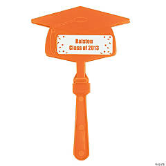 Personalized Orange Congrats Grad Mortarboard Clappers