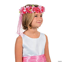 Pink Floral Head Wreath