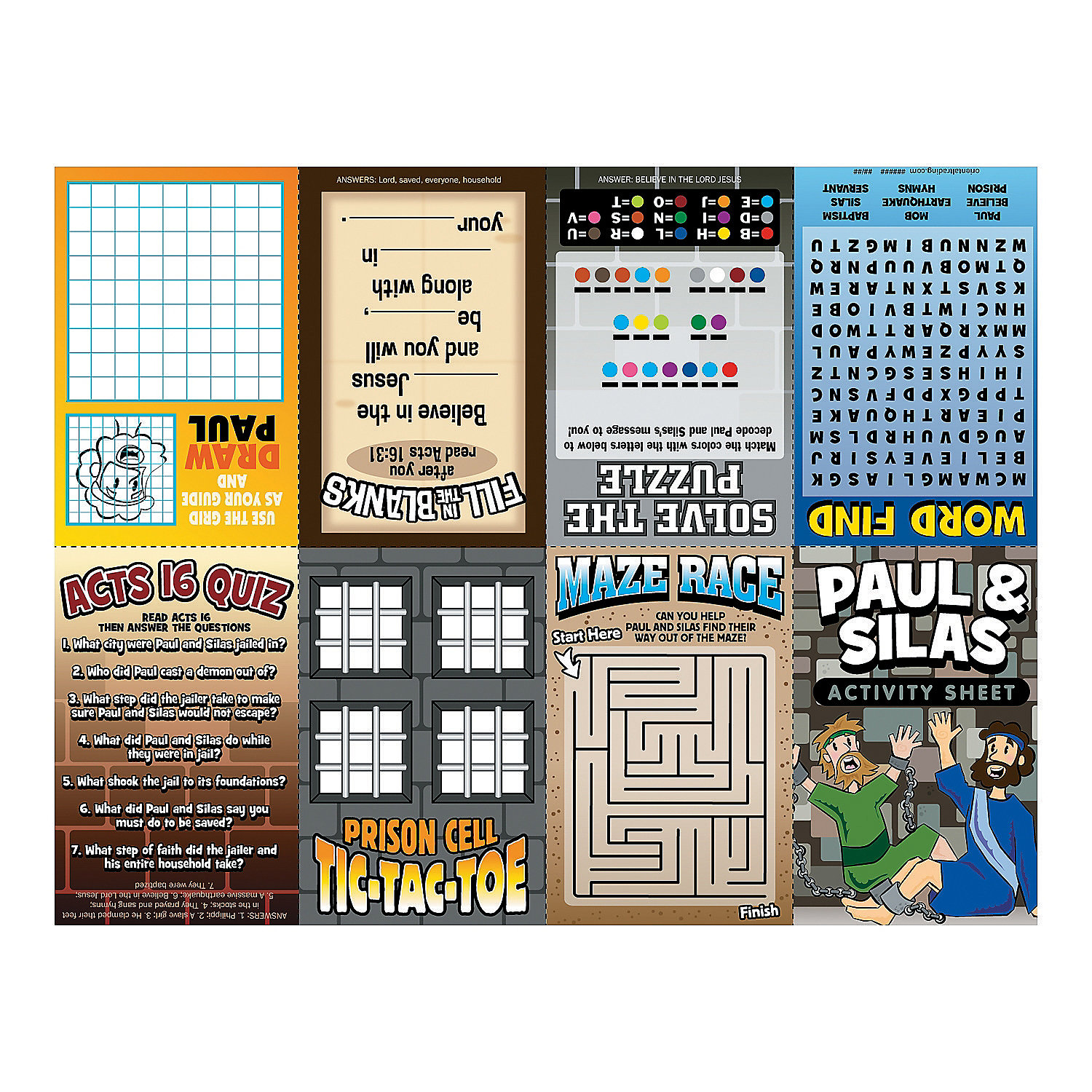 Paul amp silas fold up activity sheets oriental trading
