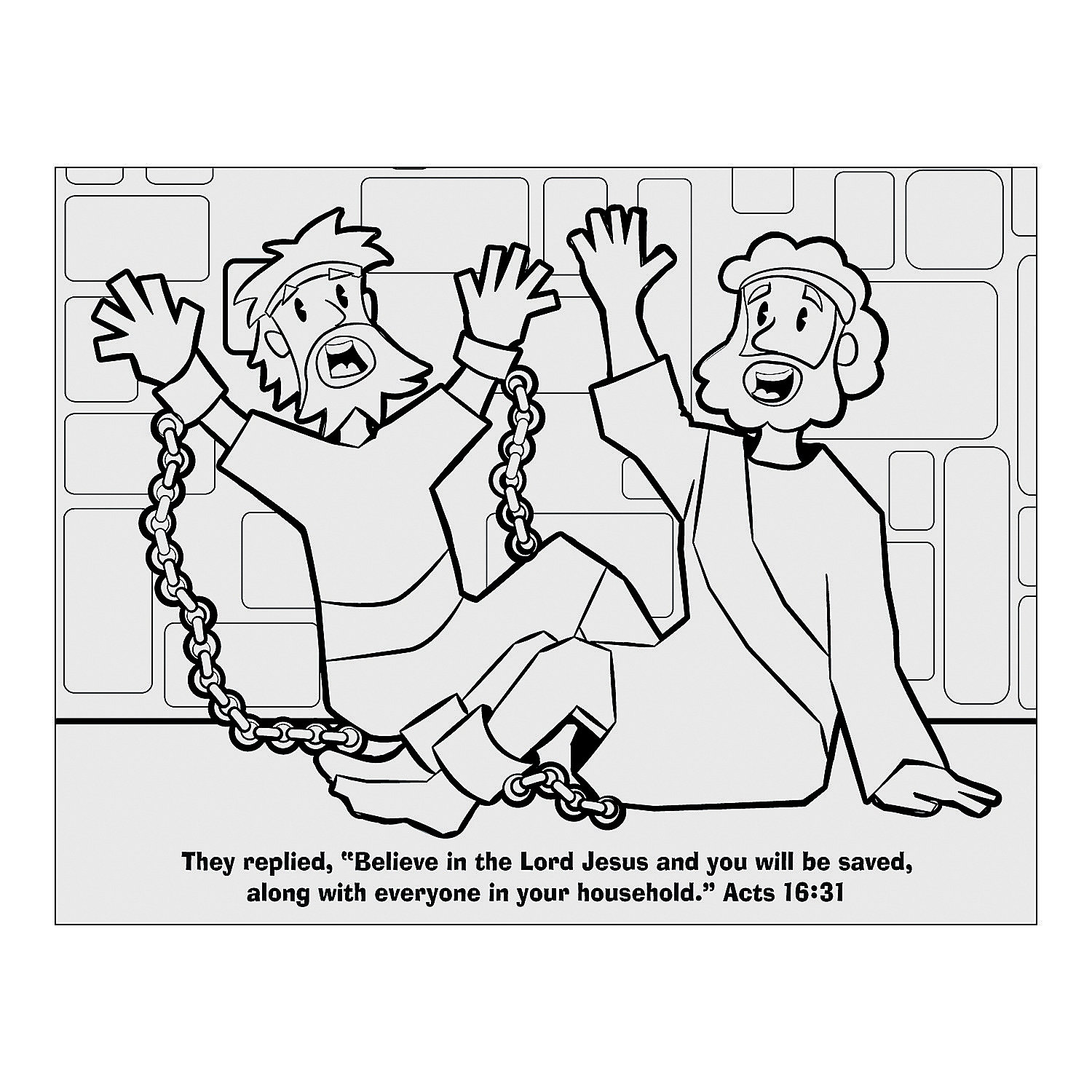 paul and silas in prison coloring page - paul silas fold up activity sheets oriental trading