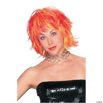 Choppy Layered Red And Yellow Wig