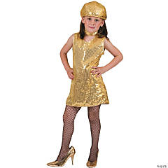 Disco Dress Gold Girl's Costume