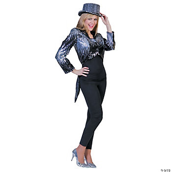 Glitter Tailcoat Silver Small Adult Women's Costume