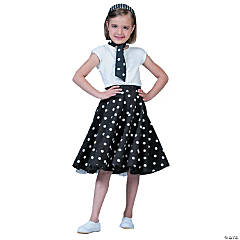 Sock Hop Skirt Black & White Girl's Costume