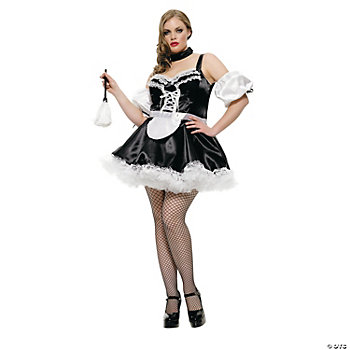 French Maid Black Plus Size Adult Women's Costume
