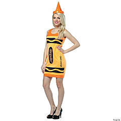 Crayola Tank Dress Neon Orange Adult Women's Costume