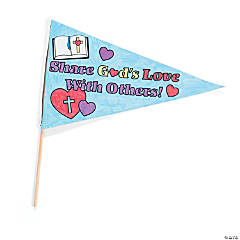 "Color Your Own ""Share God's Love With Others"" Pennant Flag Craft Kit"