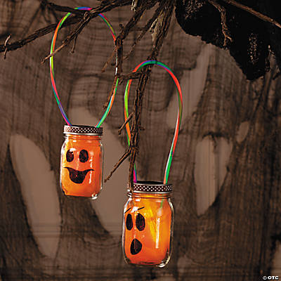 Halloween Pumpkin Glow Jars Idea