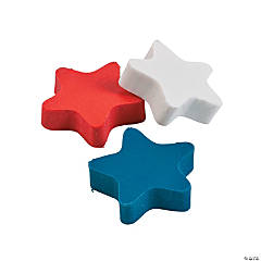 Rubber Red, White And Blue Star Erasers