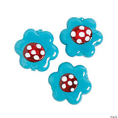 Teal Floral Lampwork Beads
