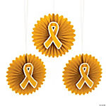 Gold Awareness Ribbon Hanging Fan Bursts