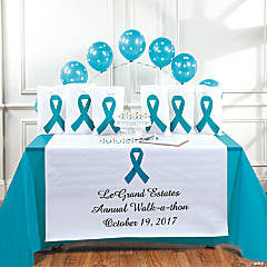 Personalized Awareness Teal Ribbon Table Runner