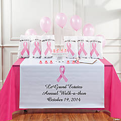 Personalized Awareness Pink Ribbon Table Runner
