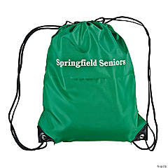 Green Personalized Small Drawstring Backpacks