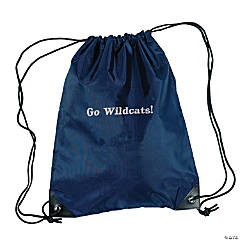 Nylon Navy Blue Personalized Drawstring Backpacks