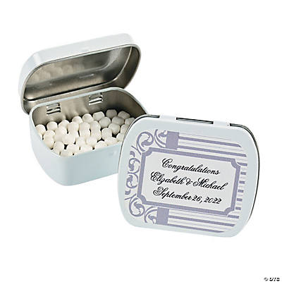 Personalized Grey & White Wedding Tins with Mints