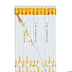 Personalized Gold Awareness Ribbon Pencils