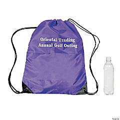 Nylon Purple Personalized Drawstring Backpacks