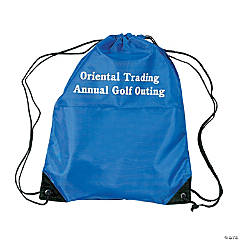 Nylon Royal Blue Personalized Drawstring Backpacks