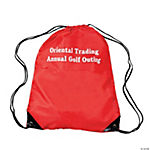 Red Personalized Small Drawstring Backpacks