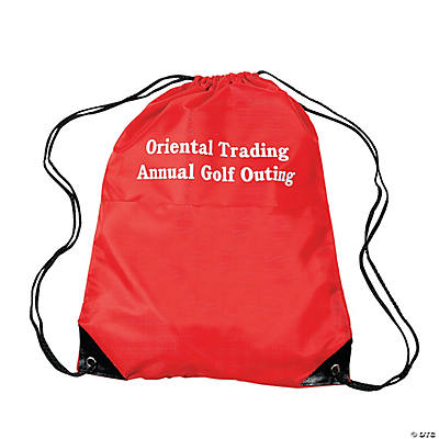 Small Personalized Drawstring Backpacks - Red