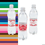 Personalized Red Chevron Water Bottle Labels
