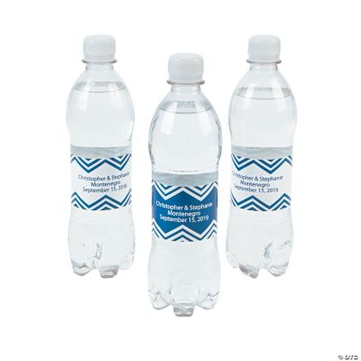 Personalized Blue Chevron Water Bottle Labels