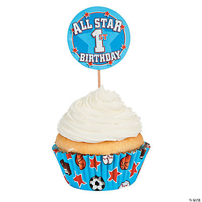 "1st Birthday ""All-Star"" Cupcake Liners with Picks"