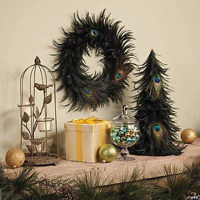 Home decor accents holiday decorations accessories terry 39 s village - Peacock feather decorations home decor ...
