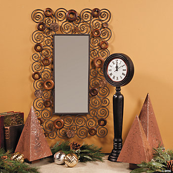 Scroll Mirror, Table Clock & Pyramid Trees