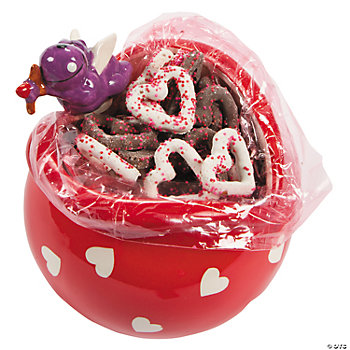 Pretzel-Filled Heart-Shaped Candy Dish With Cupid