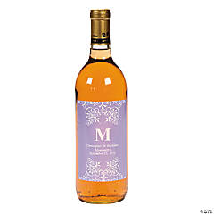 Personalized Lilac Monogram Wine Bottle Labels
