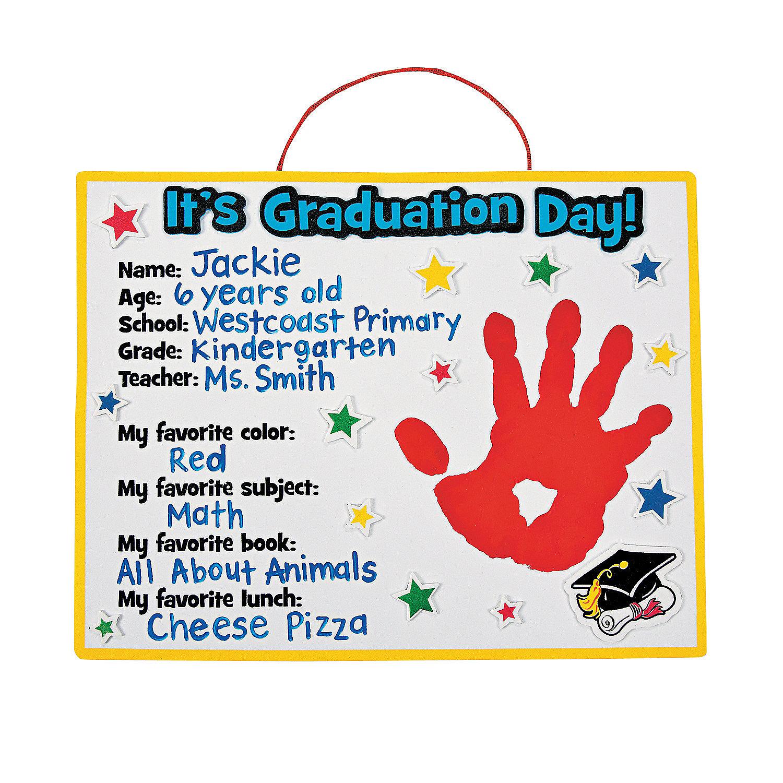 Graduation handprint craft kit oriental trading for Craft kits for preschoolers