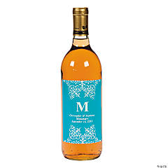 Personalized Turquoise Monogram Wine Bottle Labels